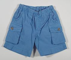 D Baby Boys Cargo Cotton Shorts with Elastic Waist in Blue