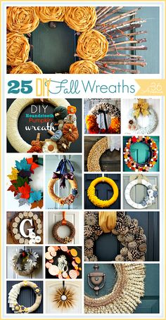 25 Gorgeous Handmade Fall Wreaths ~  >Houndstooth Pumpkin Wreath >Pine Cone Wreath  >Fall Ruffled Wreath >Burlap Rosette Wreath >Candy Corn Wreath >Acorn Wreath & MANY MORE!  How To Links @: http://www.the36thavenue.com/2013/08/handmade-fall-wreath-tutorials.html