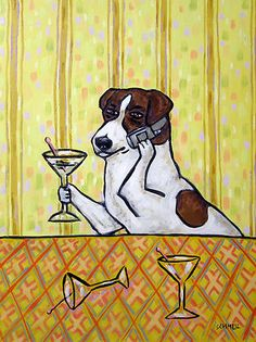 jack russell at the martini bar picture cell phone DOG art print 13x19 giclee