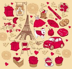 rosa vermelha de material vector francês tema