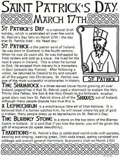 Saint Patrick's Day Article and Worksheet with Answers