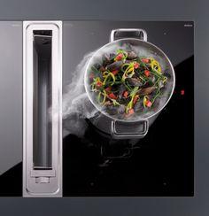 De Bora bladafzuiging zit geïntegreerd in je aanrechtblad. Hierbij heb je geen afzuigkap nodig waardoor je de open keuken nog ruimtelijker maakt.