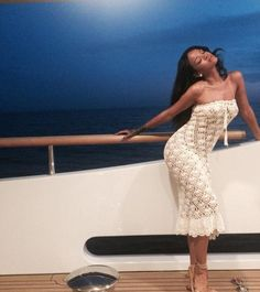 Rihanna is glamorous in crochet on vacation aboard a yacht in Italy -- seriously, so pretty! (August 2014)