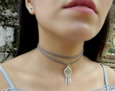 Choker Necklace Suede Choker Necklace  Bohemian by Ethnicca