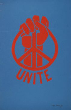 The 1970 clenched fist peace symbol.. By Wally Zampa