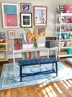 Look Inside My Home: A Colorful, Pattern-filled House in the DC Suburbs Office Decor, Home Office, Colourful Living Room, Colorful Decor, House Colors, Decoration, Interior Design, Neon Colors, Box Packaging