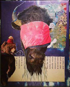 Blind Beard. #collage 8x10 inches #art #TenaciousGoods  #bison #bear #beard #doily