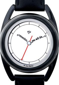 """Mr. Jones The Black PVD Accurate """"Remember you will die"""" Watch designed by UK artist Crispin Jones"""