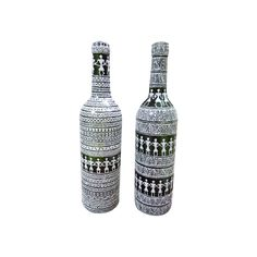 Set of two wine bottles painted with Warli Art form from India creating beautiful art decor for your kitchen and dinning area