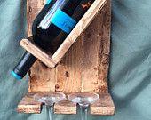 Items similar to 1 Bottle Wine Rack and 2 Glass Holder on Etsy