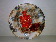 70s Mushroom FAT LAVA Wandteller Wall Plate RUSCHA 717/2 Pilze Space Age WGP ***