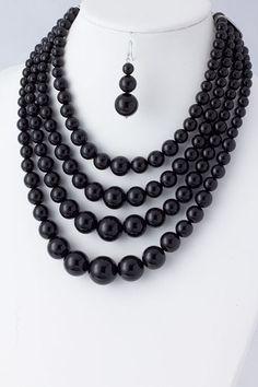 $14 Black Widow Layered Necklace Set  www.rainingrustic.com