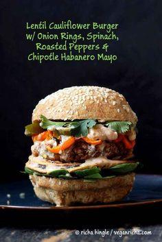 Loaded Vegan Lentil Cauliflower Burger
