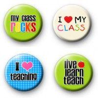 Set of 4 Teachers Button Badges  Button Badges £3.00
