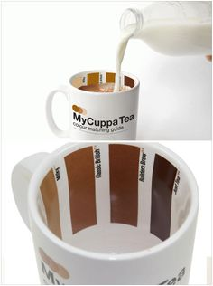 the perfect cup of coffee. just pour the right amount of milk to match the right brownish color.. need this!!!