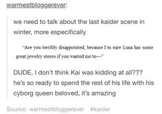 This is why I was so happy when -SPOILER ALERT- Kai proposed to Cinder in Stars Above.