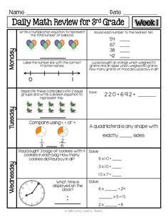 Printables 4th Grade Math Review Worksheets homework folders and student centered resources on pinterest