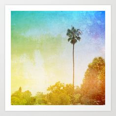 Westside Art Print by Janet Antepara- $16.00 Westside is a photo of a tall palm tree with a rainbow sky. This photo was taken in Los Angeles, California  #LosAngeles #California #palmtree #rainbow #tree #landscape #nature #green #trees #vintage #funky #photography #janetantepara #art #photo #framedart