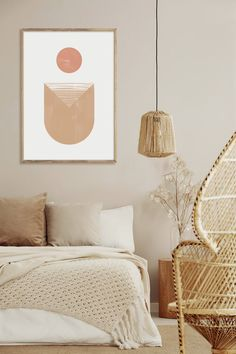 Geometric Wall Paint, Abstract Wall Art, Geometric Art, Painting Abstract, Abstract Landscape, Beige Walls Bedroom, Neutral Walls, Neutral Art, Master Bedroom