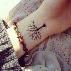 Tree wrist tattoo.