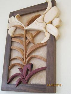 LILY Intarsia carved flower by RAKOWOODS, Easter wall decor, birthday present ,anniversary gift, nice Christmas gift wood art Listing Stats on Etsy, $70.00