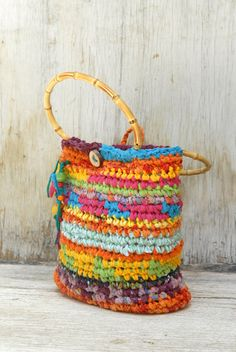Colorful crocheted purse with bamboo handles  Joyful by OdPaAm