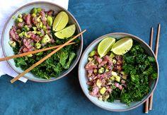 Tuna Poke and Sesame Kale Salad Bowls - Powered by @ultimaterecipe