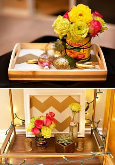 floral decorations in mexican cans, gold chevron stripes, succulents, gold chili peppers and ornaments
