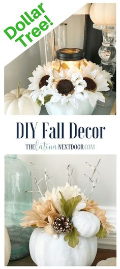 Dollar Tree Fall Decor – The Latina Next Door - DIY Gartendekor Dollar speichert Dollar Tree Fall, Dollar Tree Decor, Dollar Tree Crafts, Dollar Dollar, Dollar Stores, Dollar Tree Flowers, Dollar Tree Pumpkins, Fake Pumpkins, Diy Flowers