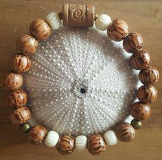 Bracelet homme perles bois de palmier et perles os : Bijoux pour hommes par vel