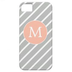 Modern Peach and Gray Monogram Stripes iPhone 5 Cover