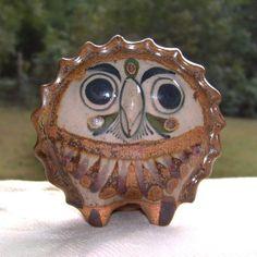 Vintage Jorge Wilmot Tonala Pottery Owl / Vintage Mexican Stoneware Brown Owl / 1950s Brown Flor de Tonala Owl on Etsy, $90.00