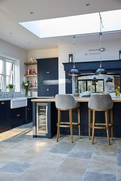 The Main Company Kitchen Room Design, Modern Kitchen Design, Home Decor Kitchen, Interior Design Kitchen, Home Kitchens, Open Plan Kitchen Dining Living, Open Plan Kitchen Diner, Kitchen Diner Extension, Blue Kitchen Cabinets