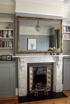 Living room victorian fireplace, Farrow and Ball Lamp Room Grey? Victorian Living Room, Victorian Fireplace, Victorian Homes, Over Fireplace Decor, Mirror Above Fireplace, Fireplace Bookcase, Mantle Mirror, Fireplace Decorations, Fireplace Design