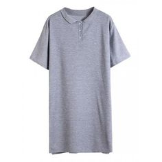 Gray Letter Print Back Slit Side Longline Polo T-shirt (€22) ❤ liked on Polyvore