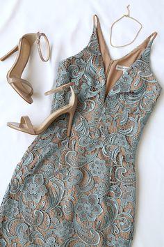 Dress the Population Marie Slate Blue Lace Midi Dress 5