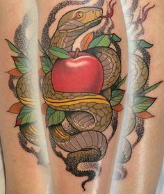 Apple snake tattoo