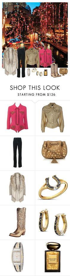 """Christmas in San Antonio"" by horcal ❤ liked on Polyvore featuring Versace, Jean-Paul Gaultier, Armani Jeans, Chloé, River Island, The Bradford Exchange, Frye, Montana Silversmiths and Giorgio Armani"