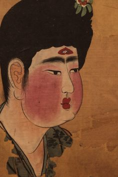 Detail of a Tang dynasty Fat lady from a painting from the Astana Graves in Turfan.   裝束与樂舞_新浪博客