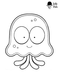 Jellyfish, : jellyfish-cartoon-coloring-page. Easy Coloring Pages, Coloring Sheets For Kids, Online Coloring Pages, Cartoon Coloring Pages, Coloring Pages To Print, Printable Coloring Pages, Free Coloring, Kids Coloring, Colouring