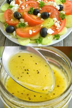 This Apple Cider Vinegar Salad Dressing is not only simple and tasty, it is actually good for you. Once you try this goodness, there is no going back! Italian Dressing Recipes, Salad Dressing Recipes, Salad Recipes, Salad Dressings, Best Salad Dressing, Homemade Italian Dressing, Drink Recipes, Low Salt Recipes, Cooking Recipes