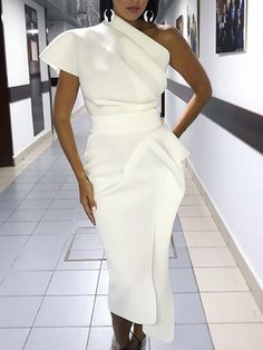 ivrose / One Shoulder Ruched Irregular Party Dress Trend Fashion, Look Fashion, Womens Fashion, Fashion Styles, Fall Fashion, 50 Fashion, Ladies Fashion, Club Fashion, Formal Fashion