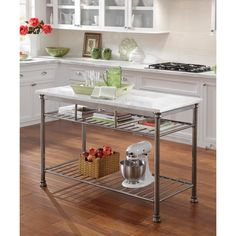 The Orleans Kitchen Island With Marble Top   Overstock™ Shopping   Big  Discounts On Kitchen