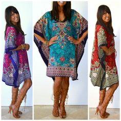 S M L XL 1X 2X 3X Taj Paisley One Size BOHO Kaftan Caftan Short Dress Cover Up #Neelam #Kaftan