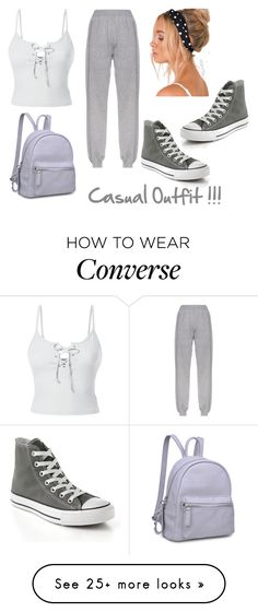 """""""Casual Outfit!!"""" by andrea27lobo on Polyvore featuring LE3NO, Converse and Moda Luxe"""