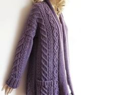 Women's Cable Knit Sweater, Knitted Alpaca and Wool Cardigan, Many colors available Hand Knitted Sweaters, Knitted Poncho, Cardigan Sweaters For Women, Sweater Coats, Wool Sweaters, Cardigans, Baby Sweaters, Cable Knit Cardigan, Knit Jacket