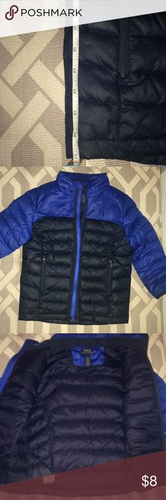 Boys' Polo Ralph Lauren Quilted Jacket Classic, cool, slim-fit quilted jacket. Two-tone blue style with zip closure and zip pockets. Out of all the coats in my posh closet this was probably worn the most (about 10 times). It was my son's fave. Luckily it's still in good condition for the next owner. Slight rub-induced discoloration on neck and on arm. Barely noticeable. I included picks so you can see. Grab & go! Make it your little one's play coat. Making it a deal! Polo by Ralph Lauren…