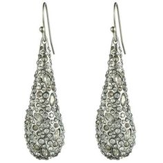 Crystal Encrusted Rhodium Small Tear Earring::Earrings::Miss Havisham::Collections::Alexis Bittar
