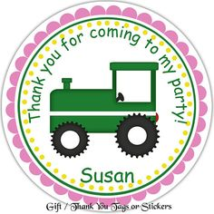 Tractor Girl  Personalized Stickers & Favor Tags by Sharenmoments