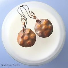 Lumpy Bumpy Earrings. Copper Jewelry. by RoughMagicCreations Boho rustic, primitive metalwork, hand forged oxidized copper